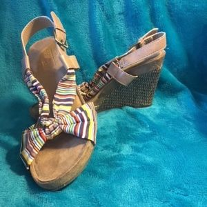"""Aerosoles"" - Multi Colored Fabric Wedges"